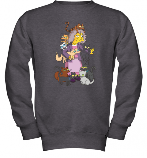 3k5z the simpsons crazy cat lady eleanor abernathy shirts youth sweatshirt 47 front dark heather