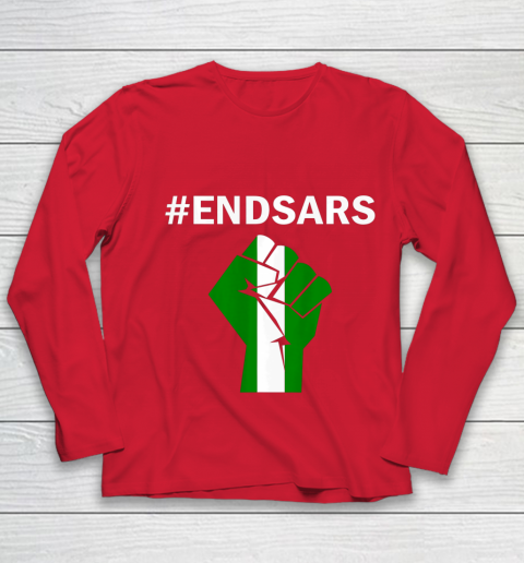 EndSARS End SARS Nigeria Flag Colors Strong Fist Protest Youth Long Sleeve 8