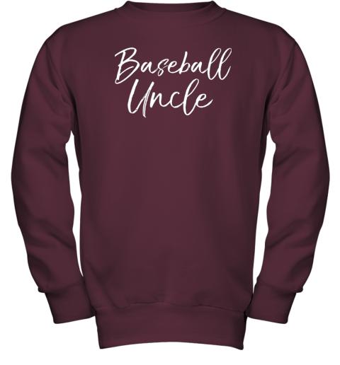 kyqt baseball uncle shirt for men cool baseball uncle youth sweatshirt 47 front maroon