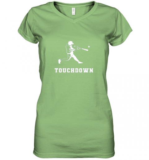 v1ed touchdown baseball shirtfunny sarcastic novelty women v neck t shirt 39 front lime