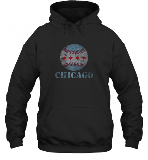 sqmh vintage chicago baseball flag hoodie 23 front black