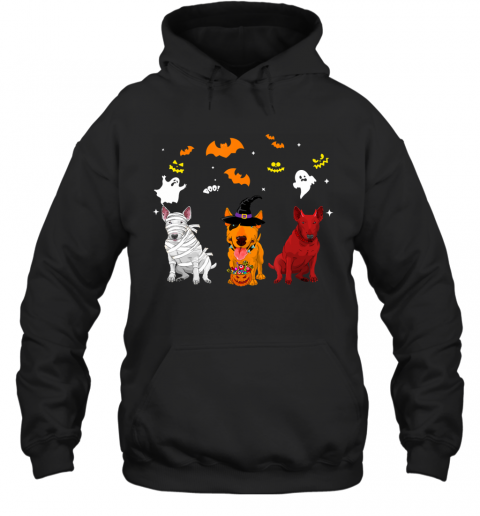 Halloween Bull Terrier Dogs Lovers Mummy Witch Demon Hoodie