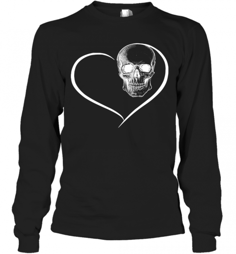 Heart Skull Face Black Long Sleeve T-Shirt