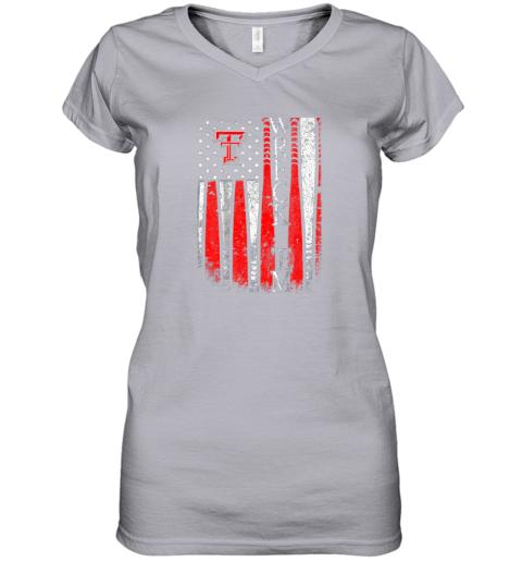 sqwq texas tech red raiders baseball flag team name women v neck t shirt 39 front sport grey