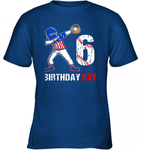 vqcl kids 6 years old 6th birthday baseball dabbing shirt gift party youth t shirt 26 front royal