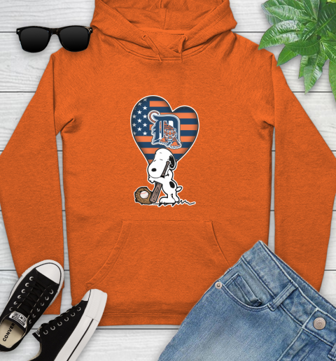 Detroit Tigers MLB Baseball The Peanuts Movie Adorable Snoopy Youth Hoodie 5