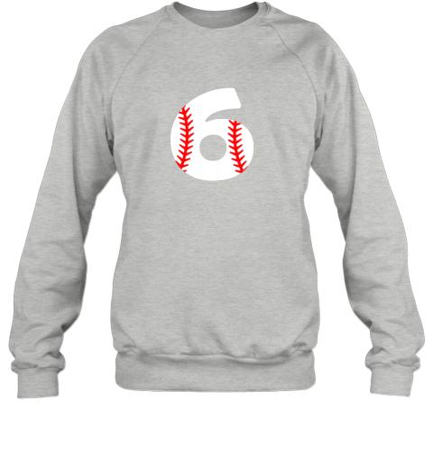 ryhv sixth birthday 6th baseball shirtnumber 6 born in 2013 sweatshirt 35 front sport grey