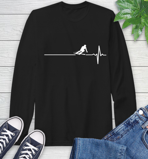 Skiing This Is How My Heart Beats Long Sleeve T-Shirt