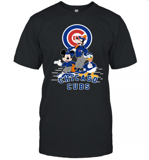 uwlt chicago cubs mickey donald and goofy baseball jersey t shirt 60 front black