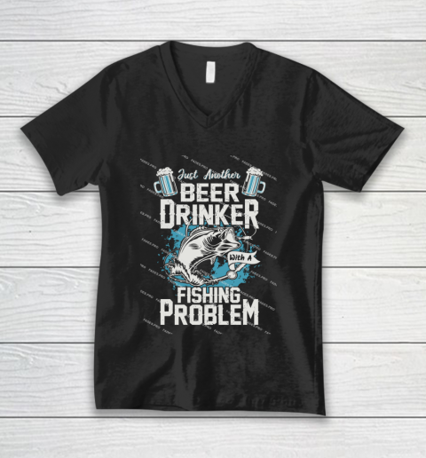 Beer Lover Funny Shirt Fishing ANd Beer V-Neck T-Shirt 1