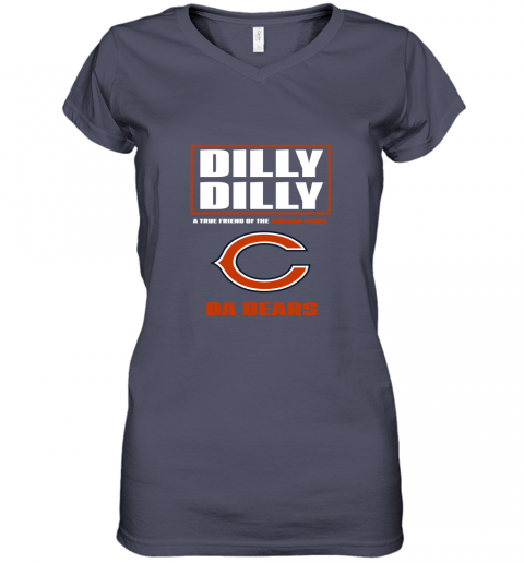 v0rk dilly dilly a true friend of the chicago bears women v neck t shirt 39 front heather navy