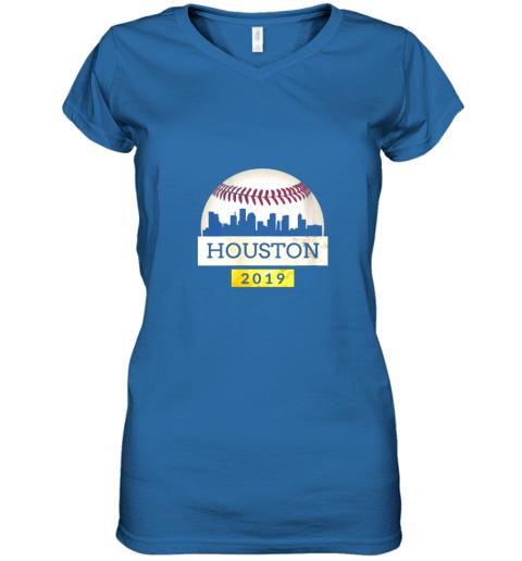 iv9q houston baseball shirt 2019 astro skyline on giant ball women v neck t shirt 39 front royal