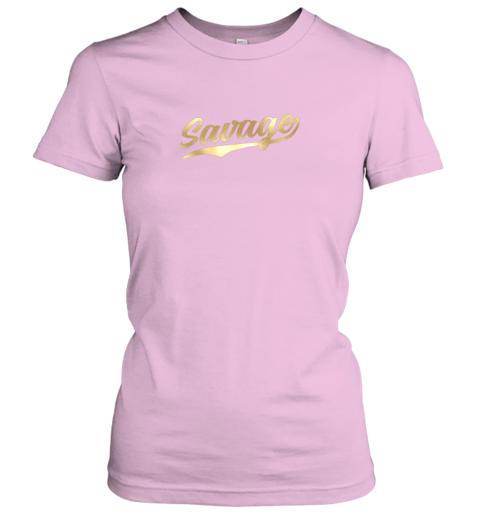 zxia savage shirt retro 1970s baseball script font ladies t shirt 20 front light pink