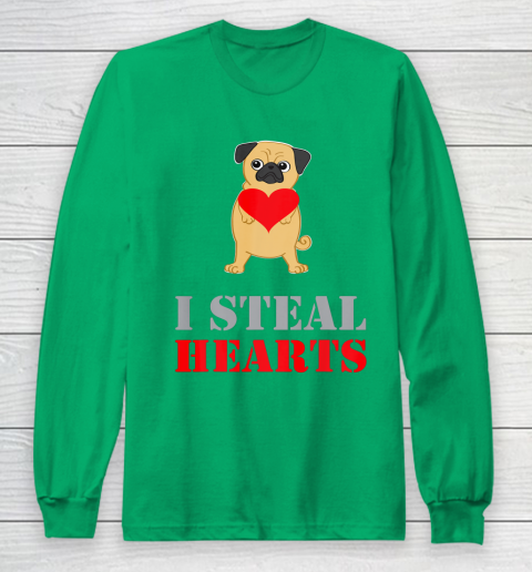 Pug Dog Valentine Shirt I Steal Hearts Long Sleeve T-Shirt 4