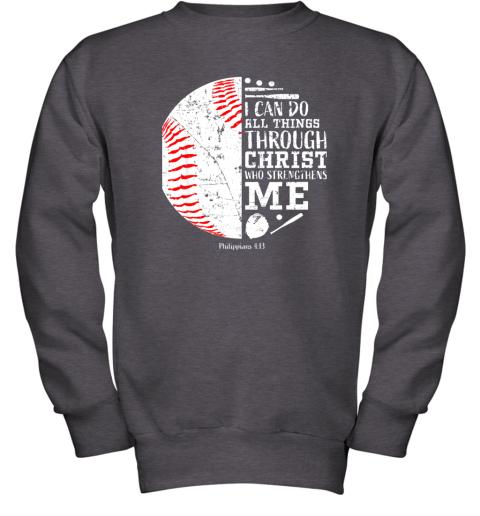 761o christian baseball shirts i can do all things through christ youth sweatshirt 47 front dark heather