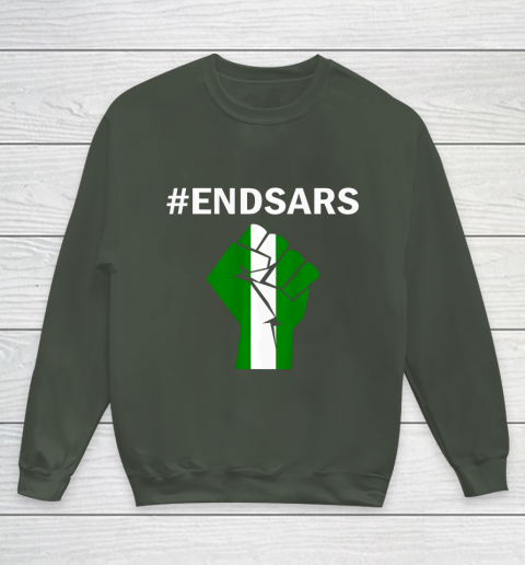 EndSARS End SARS Nigeria Flag Colors Strong Fist Protest Youth Sweatshirt 8