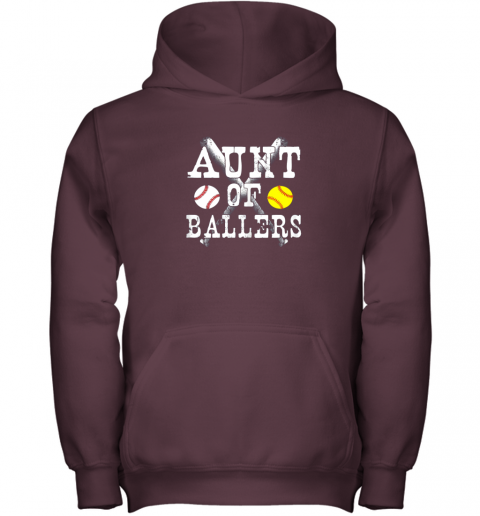yyra vintage aunt of ballers shirt funny baseball softball love youth hoodie 43 front maroon