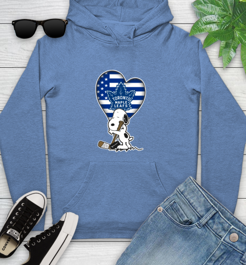 Toronto Maple Leafs NHL Hockey The Peanuts Movie Adorable Snoopy Youth Hoodie 12