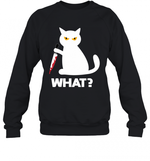 Killer Cat Bloody Knife Costume Funny Animal Halloween Gifts Sweatshirt
