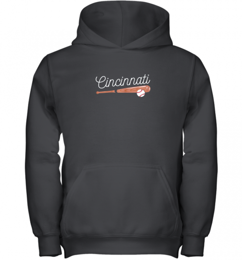 Cincinnati Baseball Tshirt Classic Ball and Bat Design Youth Hoodie