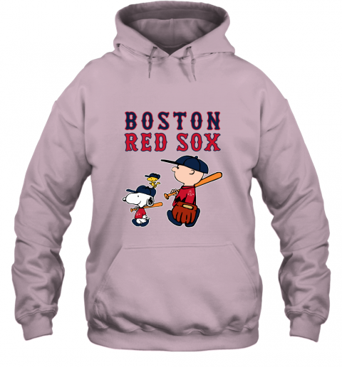 lq3w boston red sox lets play baseball together snoopy mlb shirt hoodie 23 front light pink