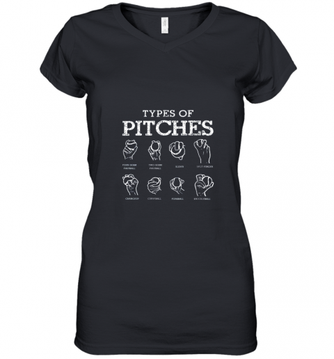 Types Of Pitches Softball Baseball Team Sport Women's V-Neck T-Shirt