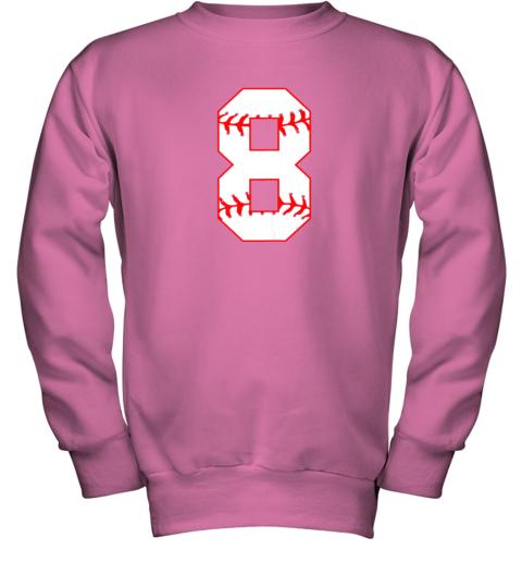 su2u cute eighth birthday party 8th baseball shirt born 2011 youth sweatshirt 47 front safety pink