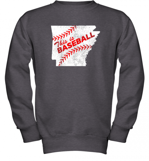 muv4 this is baseball arkansas with red laces youth sweatshirt 47 front dark heather
