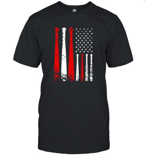 Baseball Inspired American Flag Distressed Unisex Jersey Tee