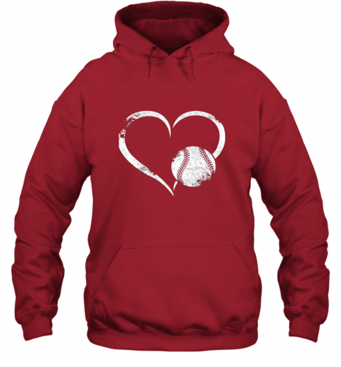 lxql i love baseballl funny baseball lover heartbeat hoodie 23 front red