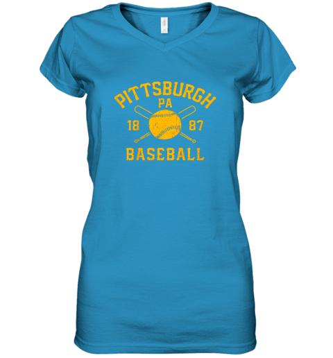 ib3x vintage pittsburgh baseball pennsylvania pirate retro gift women v neck t shirt 39 front sapphire
