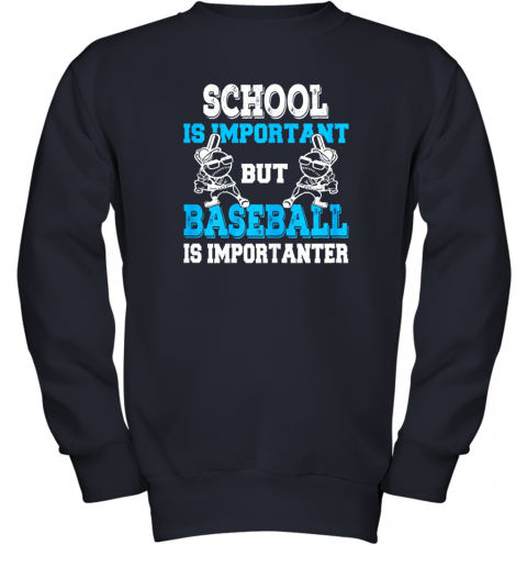 ttm6 school is important but baseball is importanter boys youth sweatshirt 47 front navy
