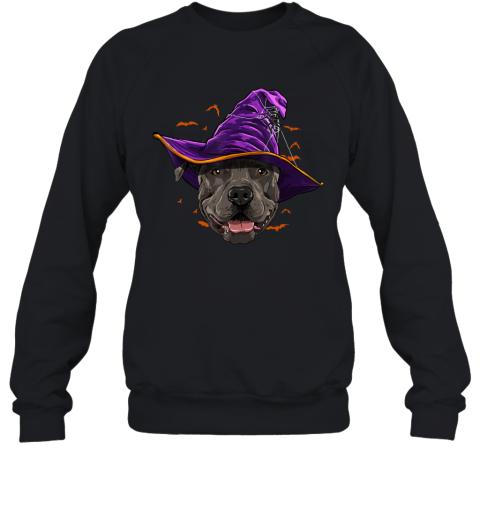 Pitbull Dog Witch Hat Funny Halloween Dog Lover Gift Sweatshirt