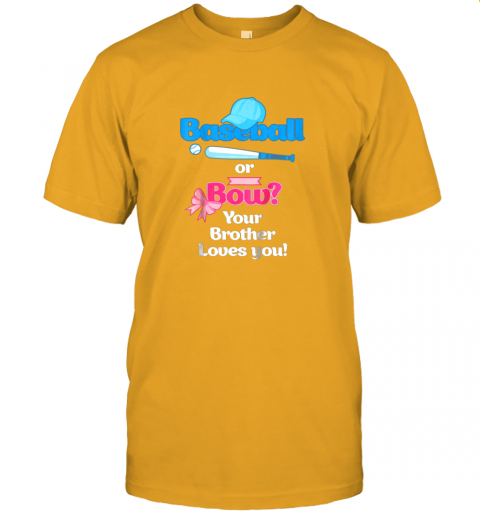 rjnw kids baseball or bows gender reveal shirt your brother loves you jersey t shirt 60 front gold