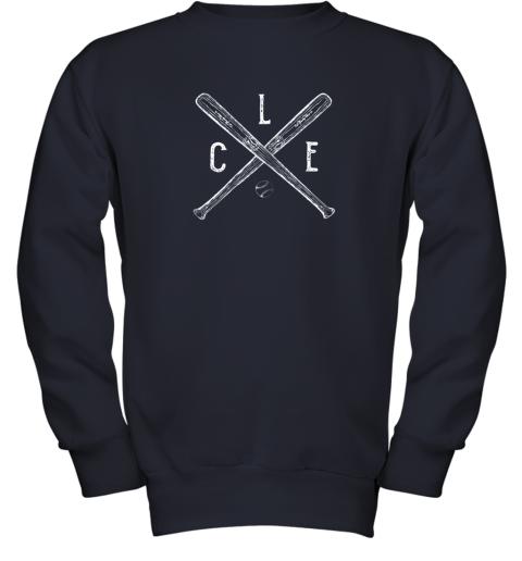 utge vintage cleveland baseball shirt cleveland ohio youth sweatshirt 47 front navy