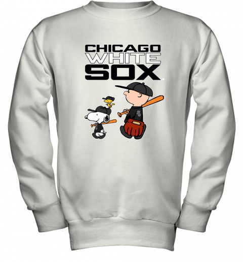 Chicago White Sox Let's Play Baseball Together Snoopy MLB Youth Sweatshirt