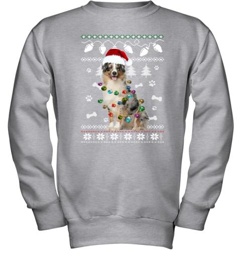Australian Shepherd Xmas Dog Light Ugly Youth Sweatshirt