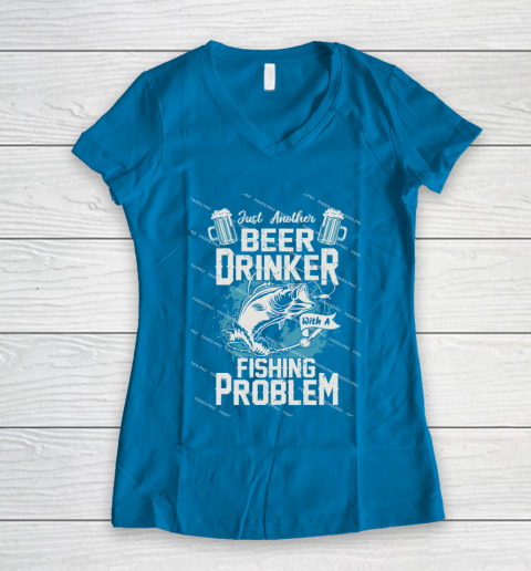 Beer Lover Funny Shirt Fishing ANd Beer Women's V-Neck T-Shirt 5