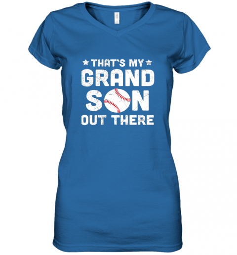 wrkx grandma that39 s my grandson out there baseball women v neck t shirt 39 front royal