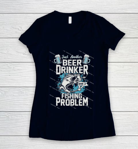 Beer Lover Funny Shirt Fishing ANd Beer Women's V-Neck T-Shirt 2