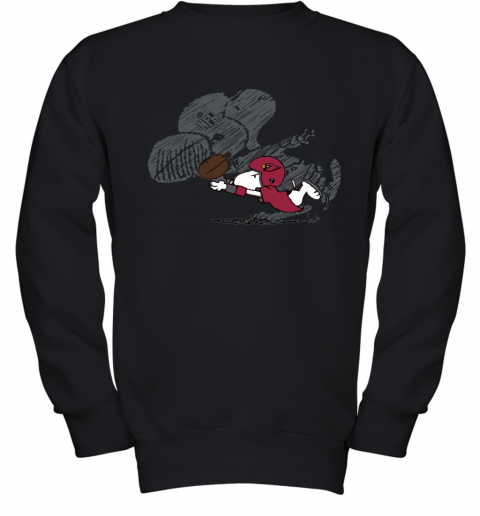 Arizona Cardinals Snoopy Plays The Football Game Youth Sweatshirt