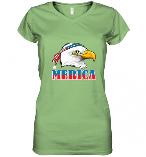 Eagle Mullet 4th Of July American Flag Merica USA Women's V-Neck T-Shirt