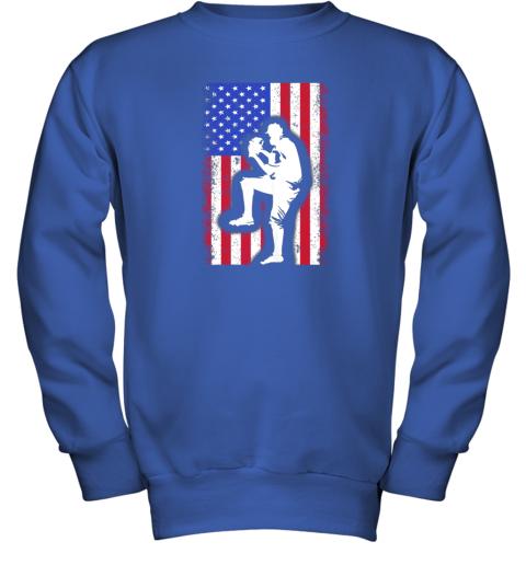 nwzu vintage usa american flag baseball player team gift youth sweatshirt 47 front royal