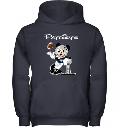 zowm mickey patriots taking the super bowl trophy football youth hoodie 43 front navy