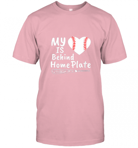 0osr womens my heart is behind home plate baseball bat mom dad gift jersey t shirt 60 front pink