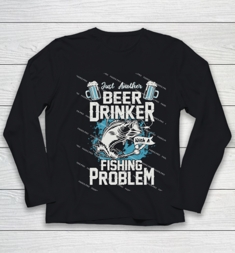 Beer Lover Funny Shirt Fishing ANd Beer Youth Long Sleeve