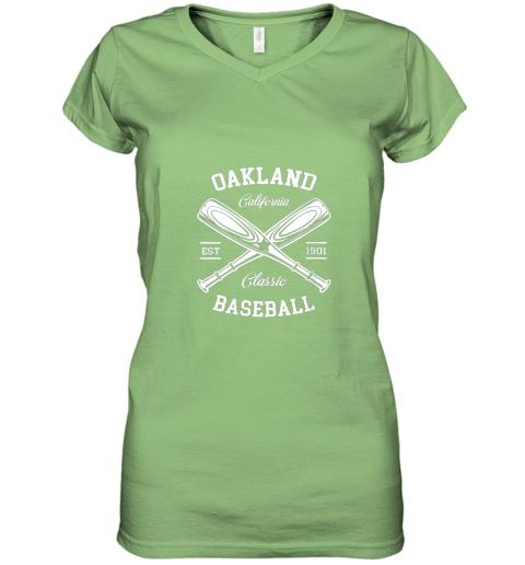 w5i9 oakland baseball classic vintage california retro fans gift women v neck t shirt 39 front lime