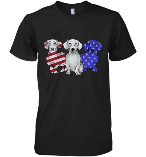 Dachshund American Flag Premium Men's T-Shirt