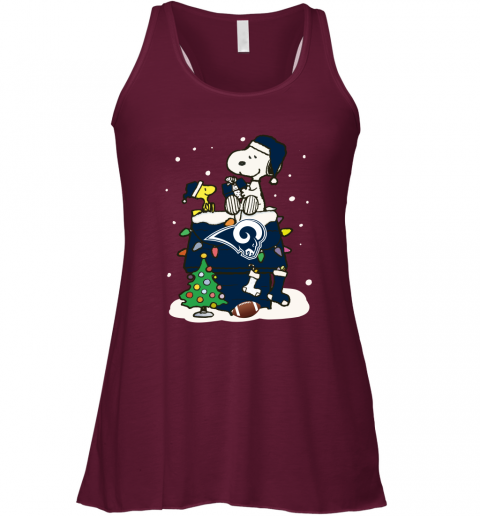 vobz a happy christmas with los angeles rams snoopy flowy tank 32 front maroon