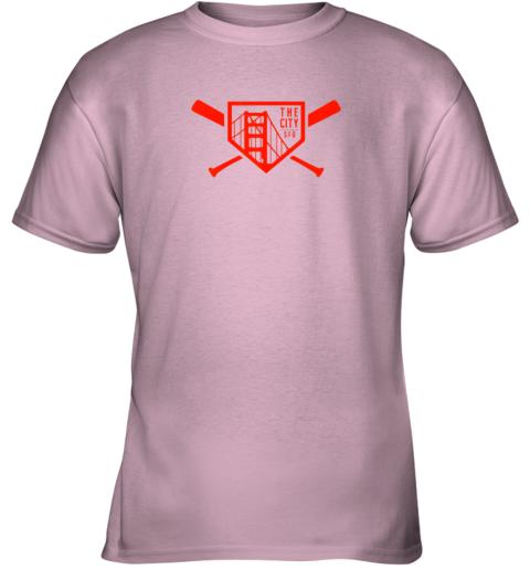 qpt9 cool san francisco baseball the city bridge sfo youth t shirt 26 front light pink